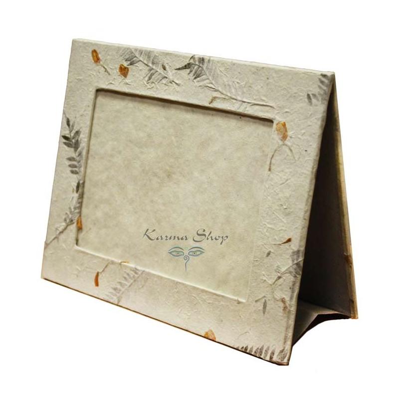 Portafoto da appoggio in carta di riso con foglie e fiori for Cornici portafoto