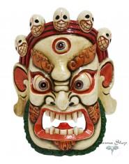 Maschera Mahakala bianca con fiamme