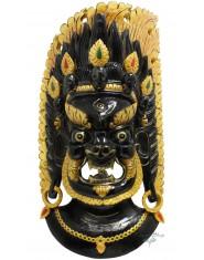 Maschera Mahakala nera con fiamme dorate