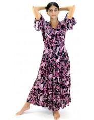 Vestito lungo fiori - rosa