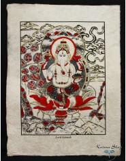 Poster piccolo Natural Ganesh seduto rosso/oro/nero