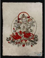 Poster piccolo Natural Tara Verde rosso/oro/nero