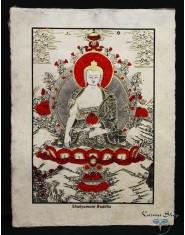 Poster piccolo Natural Buddha Shakyamuni rosso/oro/nero