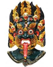 Maschera Mahakala verde scuro e fiamme dorate