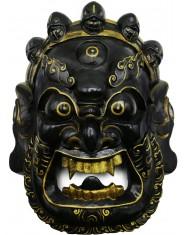 Maschera Mahakala nero e oro con fiamme