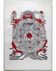 Poster grande Ruota dell'esistenza rosso/oro/nero