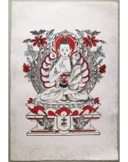 Poster grande Buddha Amoghasiddhi rosso/oro/nero