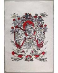 Poster grande Samantabhadra rosso/oro/nero