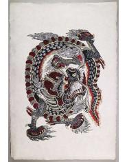 Poster grande Dragon rosso/oro/nero