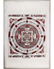 Poster grande Kalachakra Mandala rosso/oro/nero