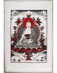 Poster grande Buddha della Medicina rosso/oro/nero