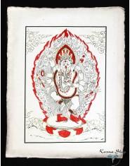 Poster piccolo Natural Ganesh in piedi rosso/oro/nero