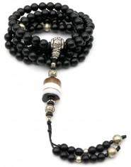 Mala 108 Grani in Onice con pendente in Agata e Guru in metallo